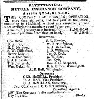 Nc Business History Insurance Companies Prior To 1900